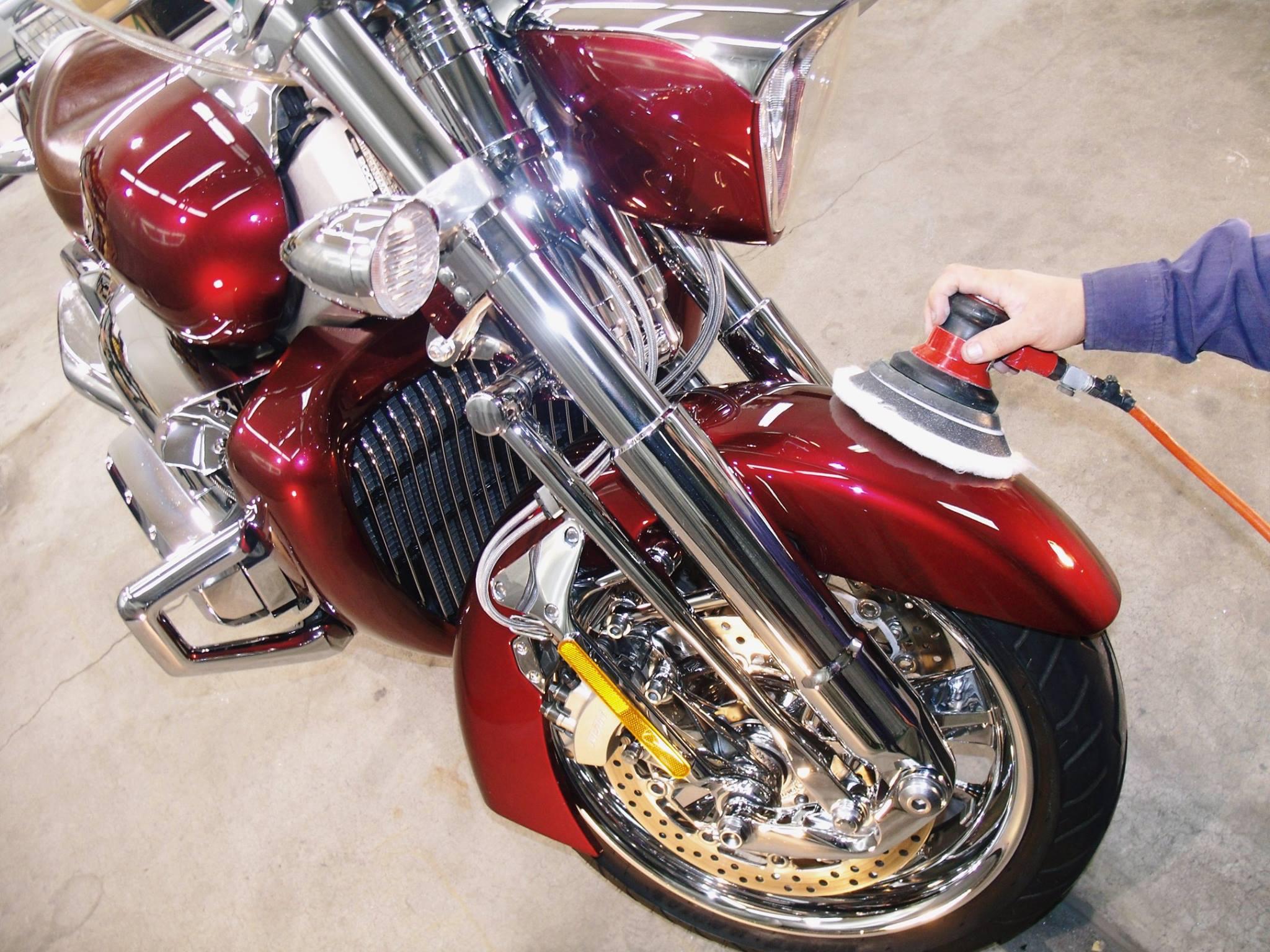 バイクのコーティング施工工程